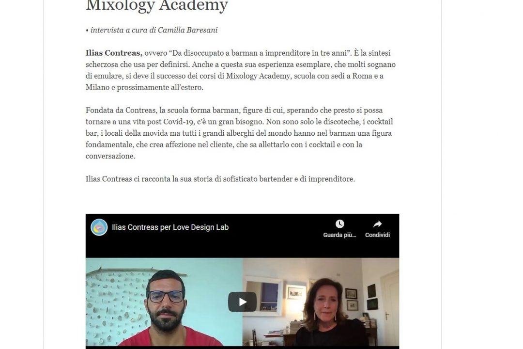 Love Design Lab parla di MIXOLOGY Academy